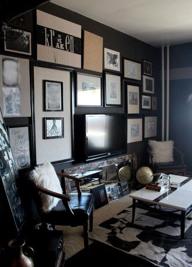 Dark & Dramatic Small Spaces - From Apartment Therapy. Would be good for TV wall.