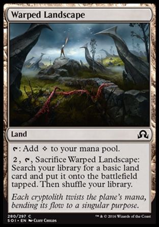 "Warped Landscape - ""Each cryptolith twists the plane's mana, bending its flow to a singular purpose."""