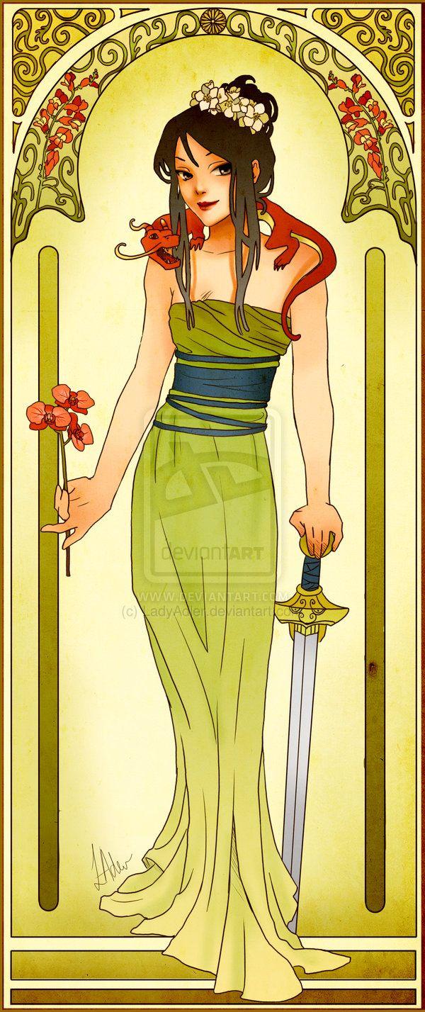 Disney Princesses Mucha Style Pin-Up Art 9