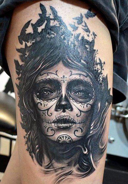 Black and grey dia de los muertos piece by Elvin Yong