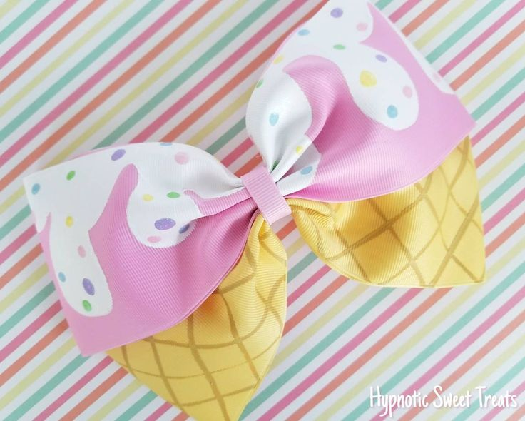 Ice Cream Hair Bow, 8 inch Oversized Pink hairbow, Pastel hair bow, Kawaii bow, Hand Painted bow, hair bows for girls, Lolita bow, Fairy kei by HypnoticSweetTreats on Etsy https://www.etsy.com/listing/286991495/ice-cream-hair-bow-8-inch-oversized-pink