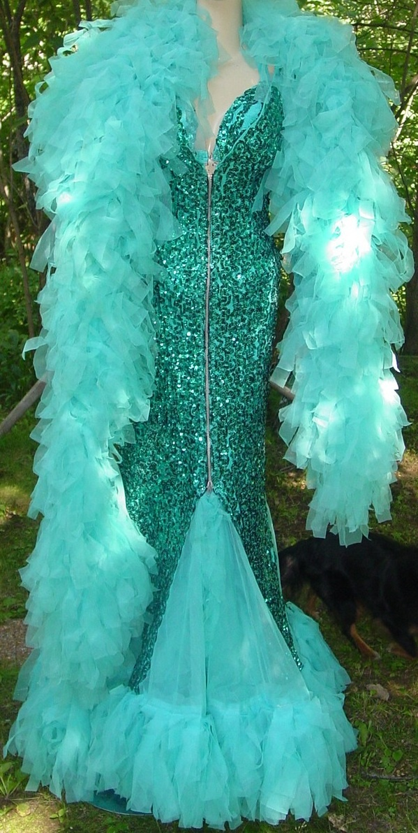 burlesque mermaid [teal / aqua sequin dress + boa]