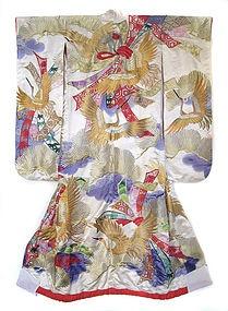 Japanese Silk Wedding Kimono with Gold Cranes