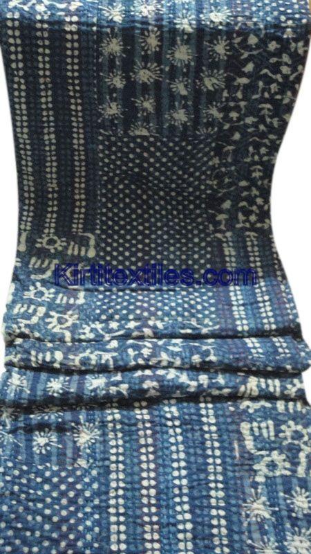 Wooden Indigo Blur Dabu Printed Fabric Made Vintage Style Patchwork Gudri Elegant Hand Block Printed Bedspread Throw From Jaipur Rajasthan India