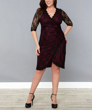 Black  Burgundy Lace Gigi Tulip Surplice Dress - Plus..love but would be even more fab if it was a little bit of a brighter shade of red
