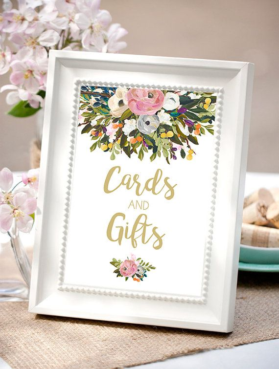 Cards and gifts sign favors sign gold wedding by Papierscharmants
