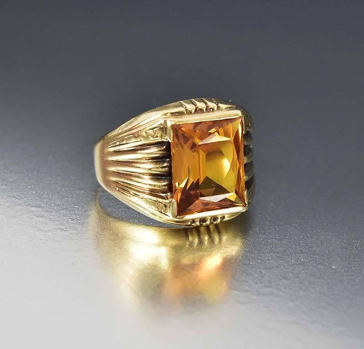Art Deco Gold Signet Style Yellow Sapphire Ring  #Style #Sapphire #Ring #Yellow #Gold #Art #Deco #Maple #Snake #Eternity