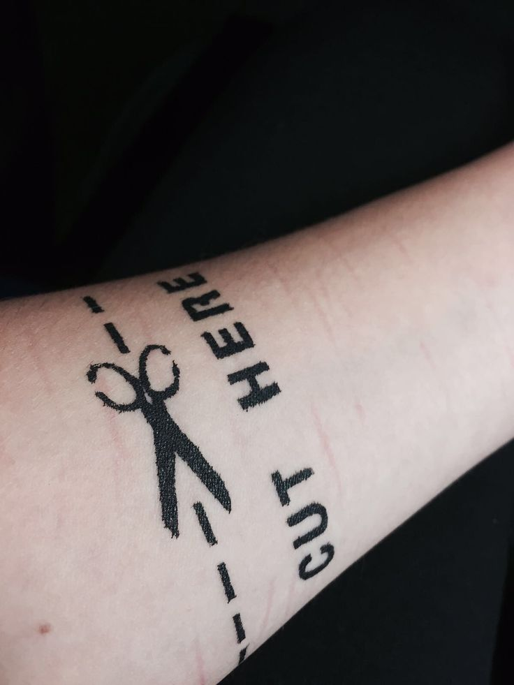 Cut here. Self harm tattoo | Teen Depression/ Cutting ...