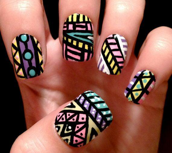 Aztec nail art design - soft colors - 158 Best Manis 2 Try - Tribal Aztec Southwest Ez Images On