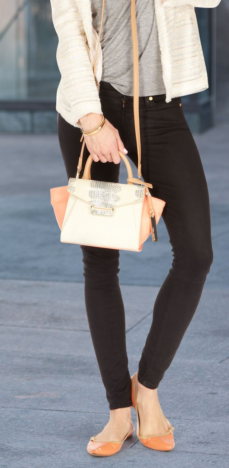 Street style made simple by accessorizing with structured shoulder bags.