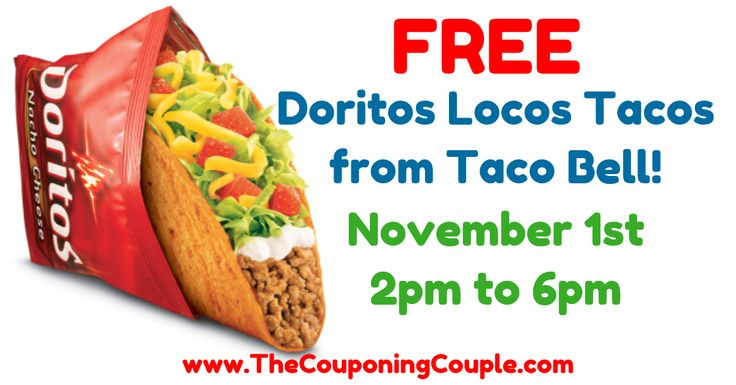 WOOHOO! A FREE Doritos Locos Taco from Taco Bell for EVERYONE! November 1st from 2pm - 6pm! YUMMY!  Click the link below to get all of the details ► http://www.thecouponingcouple.com/free-doritos-locos-taco-at-taco-bell-on-november-1st/ #Coupons #Couponing #CouponCommunity  Visit us at http://www.thecouponingcouple.com for more great posts!