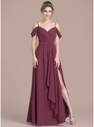 £85 / £244 dusty rose (mulberry is lovely though...) A-Line/Princess V-neck Floor-Length Bow(s) Split Front Cascading Ruffles Zipper Up Spaghetti Straps Sleeveless No Mulberry Spring Summer Fall Winter General Plus Chiffon Height:5.7ft Bust:33in Waist:24in Hips:34in US 2 / UK 6 / EU 32 Bridesmaid Dress