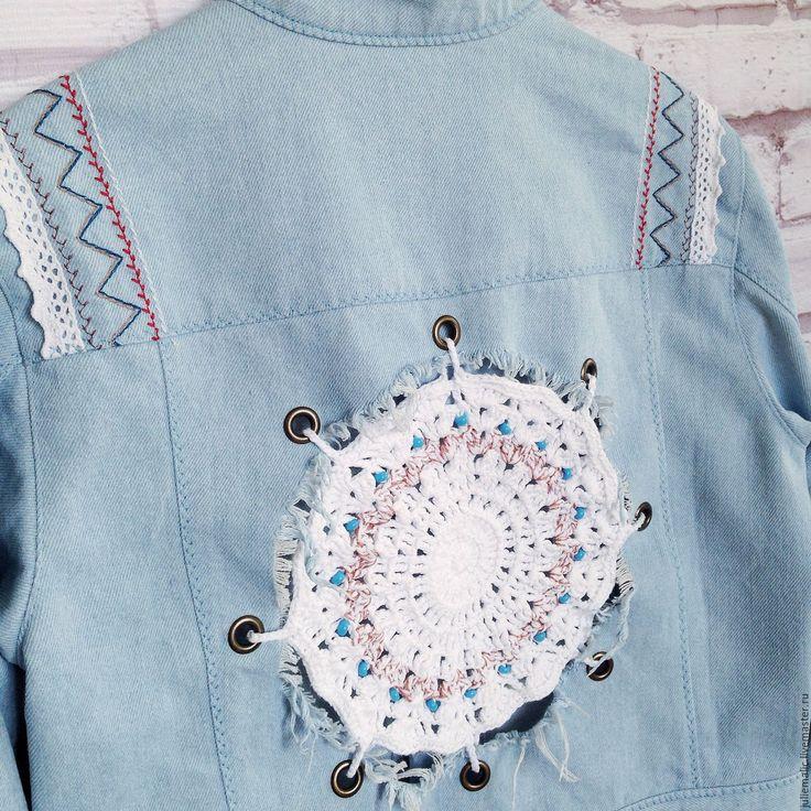 Купить Эксклюзивная джинсовая куртка в этно-бохо стиле - джинсовая куртка, куртка джинсовая, джинсовка, jeans jacket, boho, ethno