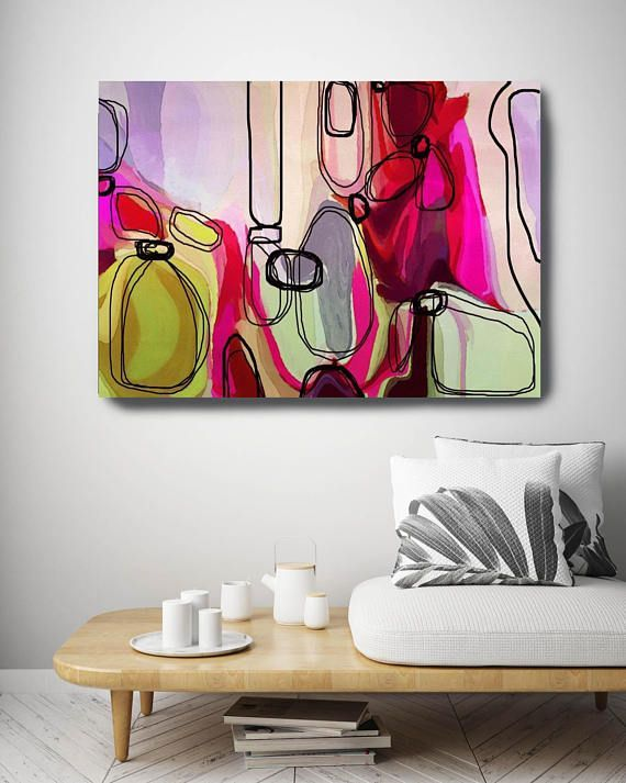 Permission to Envision. Red Green Abstract Art Large Abstract
