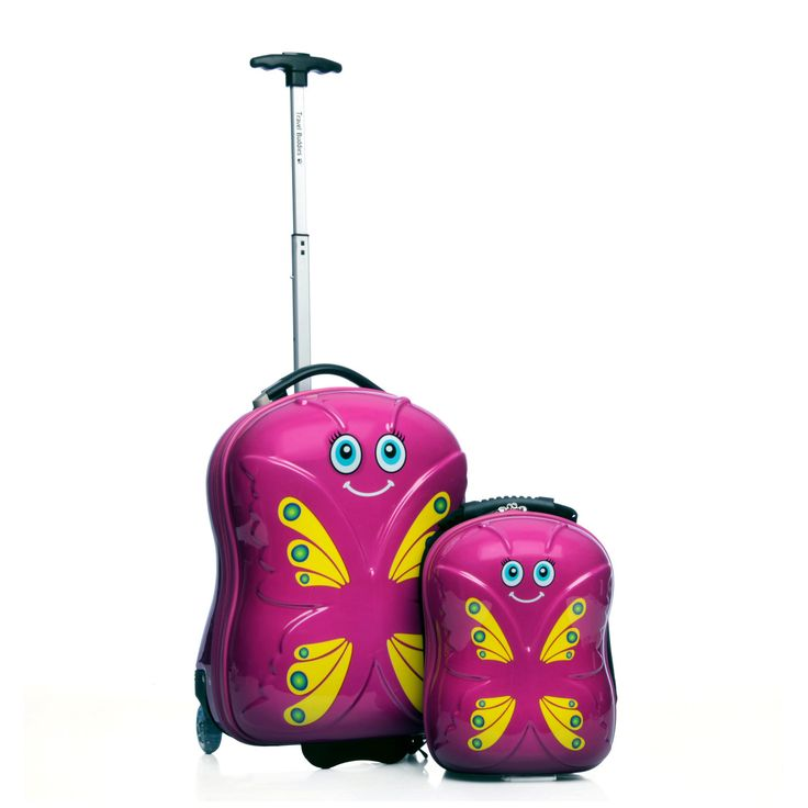 Trendykid Travel Buddies 'Bella Butterfly' 2-piece hardside carry on kids luggage set is a fun function-packed duo styled with a wheeled hardside case and matching backpack to keep essentials close at hand.