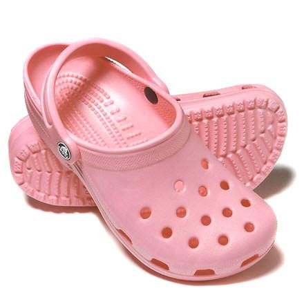 crocs - i croc it out on the regular, this is the only shoe that looks awful no matter what size foot you have and therefore i love it, embracing big foot