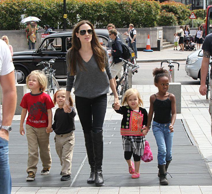 Shiloh + Knox Jolie Pitt wearing TD linen pants