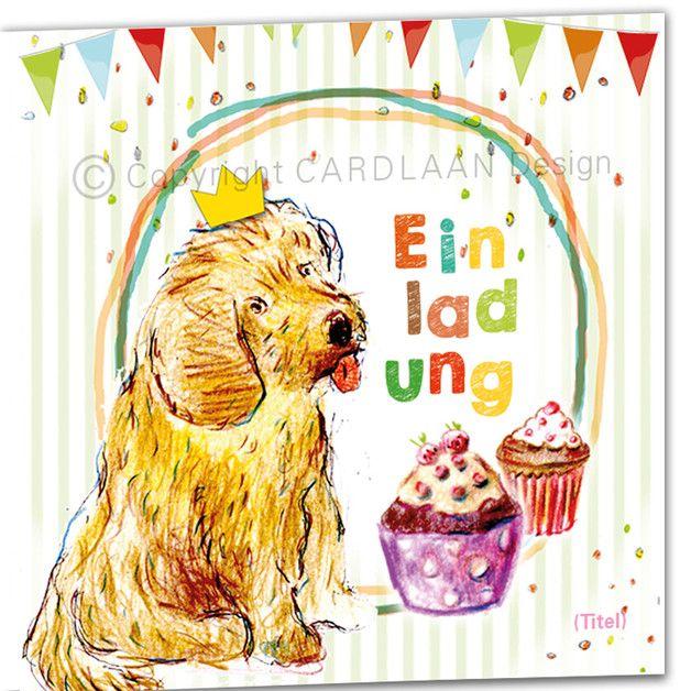 Einladung Kindergeburtstag Klappkarte (Hund)