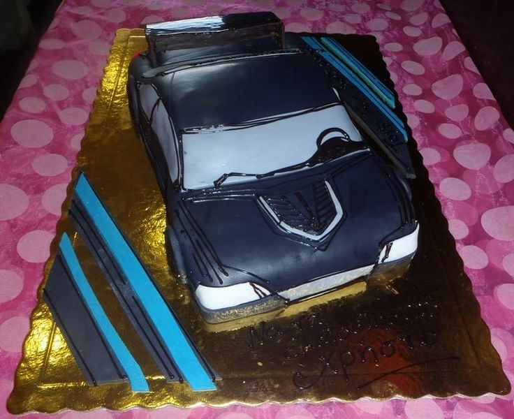 Sport car cake black birthday cake