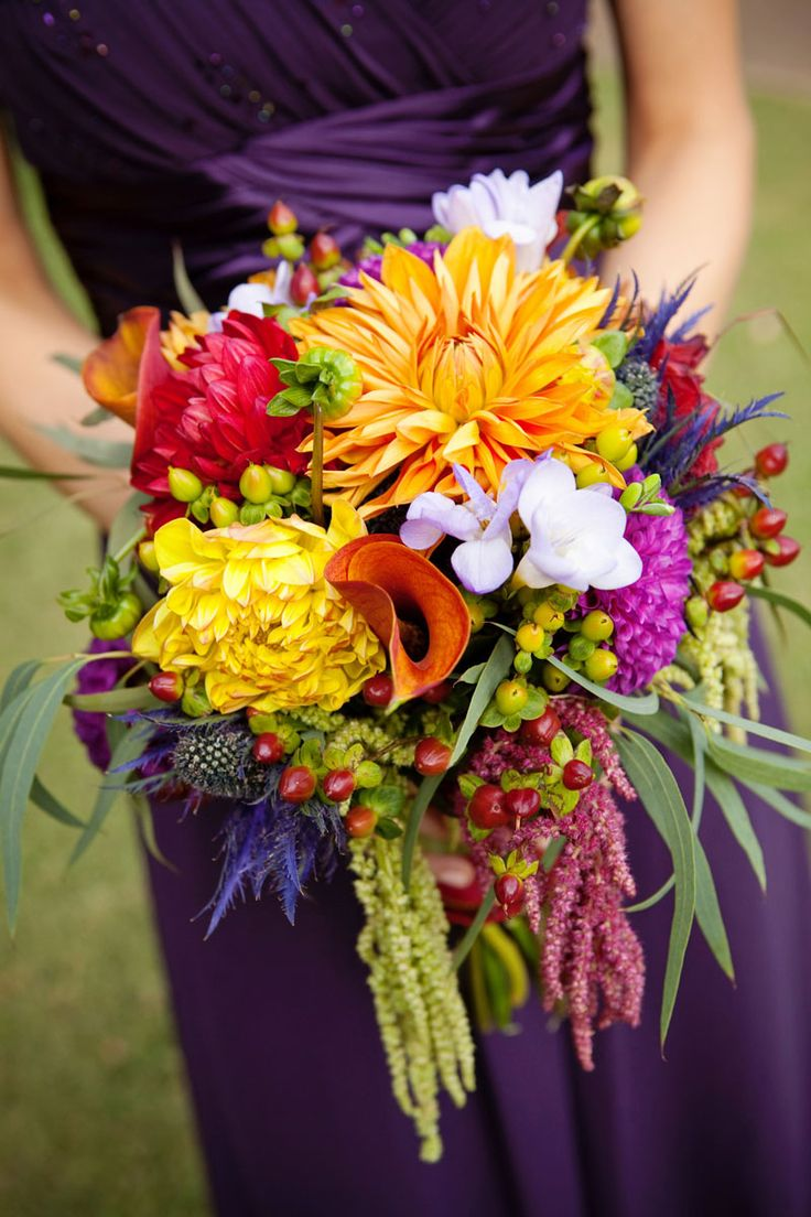 Warm colour bouquet of orange, yellow and red.