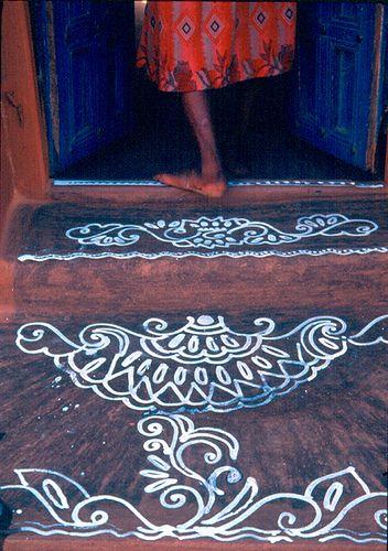 Alpona at a doorstep