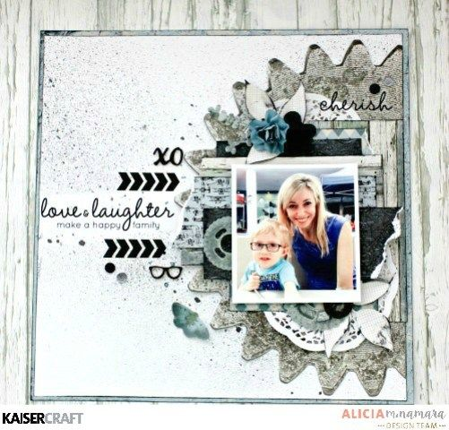 """Love and Laughter' layout by Alicia McNamara DT for Kaisercraft using 'Barber Shoppe' collection ~ Wendy Schultz ~ Scrapbook Layouts."