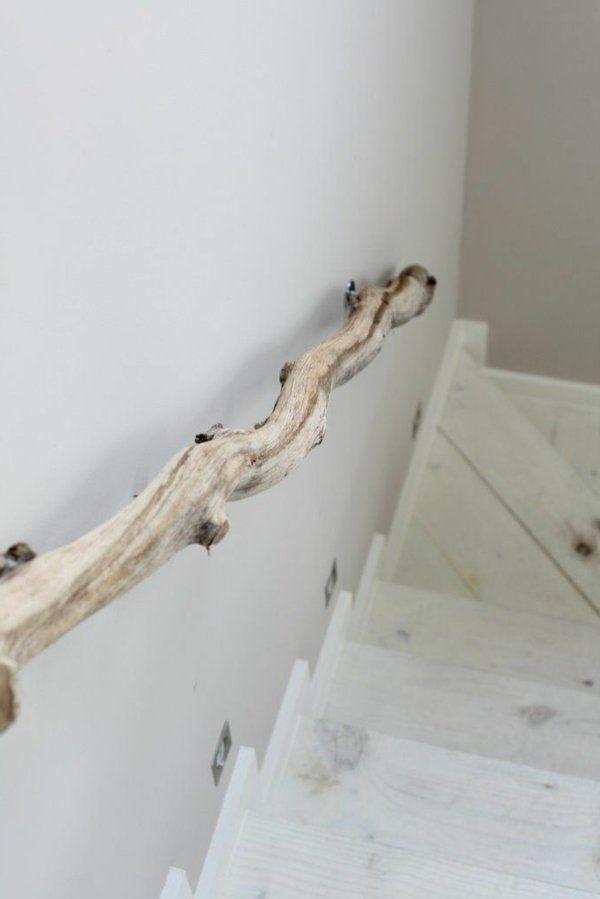 Treppengeländer selber bauen eigenartig kunstvoll holz zweig Treppe Geländer