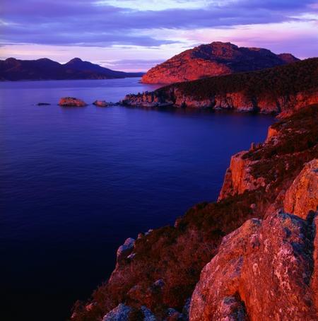 Freycinet National Park, Tasmania  Wonderful sunset over coastal Freycinet National Park in Tasmania.