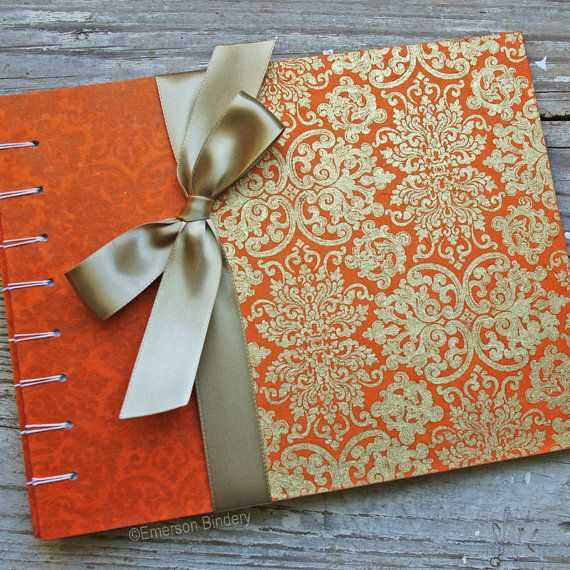 Wedding Guest Book, Far East in Orange, Select a size, MADE upon ORDER. A Far East, Orient-inspired pattern in gold, silk screened on an ornage background. Paired with a complimentary orange paper with subtle hints of the same pattern. Handmade in North Carolina. Available on Etsy.