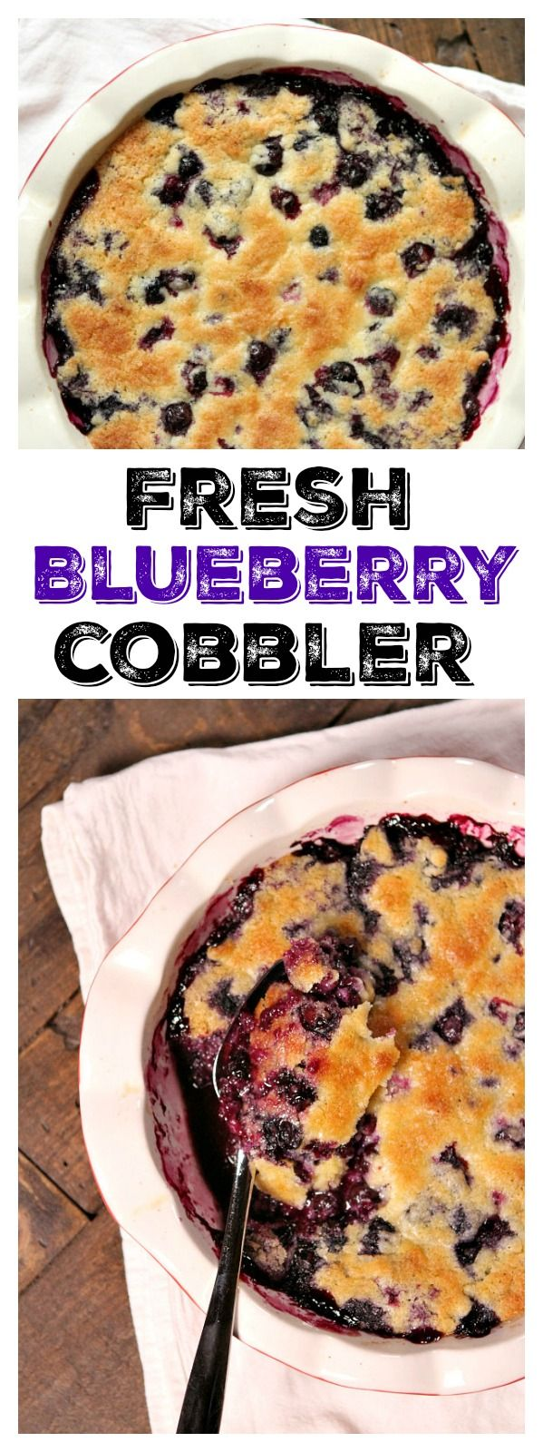 Easy Fresh Blueberry Cobbler recipe : the perfect summer dessert recipe.  This cobbler is amazing served warm with a scoop of vanilla ice cream.  You'll want to guzzle the blueberry syrup left in the