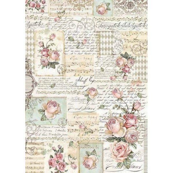 textura Stamperia Floral Papel De Arroz Para Decoupage hoja de álbumes de recortes