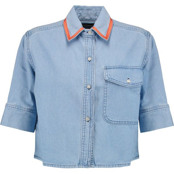 Etre Cecile Cropped washed-denim shirt ($130) ❤ liked on Polyvore featuring tops, light denim, button front top, crop top, blue shirt, light blue crop top and crop shirt