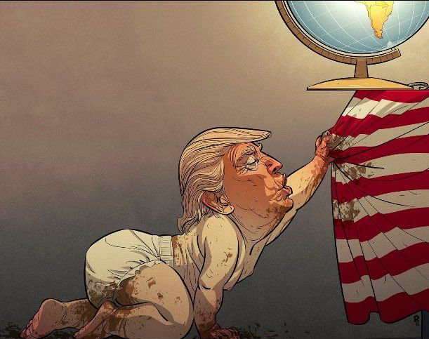 "Trump in Norweigian paper This cartoon, from the Norwegian newspaper VG, presents the newly-elected president as a toddler with a soiled diaper, making a clumsy grab at an American flag, upon which rests the whole world. The title of the picture translates to ""the spirit grinning no longer."""