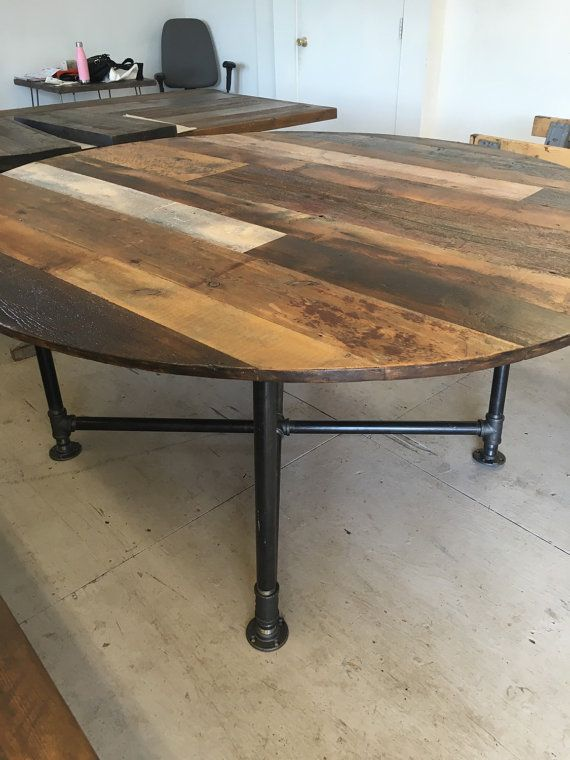 Round dining table, reclaimed wood table /industrial pipe base
