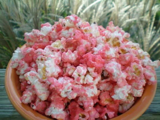 This is sweet buttered popcorn with red food color added. Great for a girls birthday party or for Breast Cancer Awarness events.