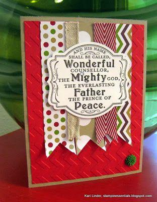 Stampin' Up! Christmas byy Kari Linder, Stampin' Essentials blog: Prince of Peace Christmas Card