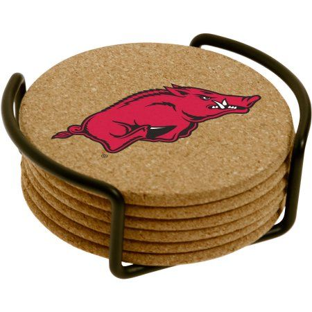 Set of Six Cork Coasters with Holder Included, University of Arkansas, Multicolor