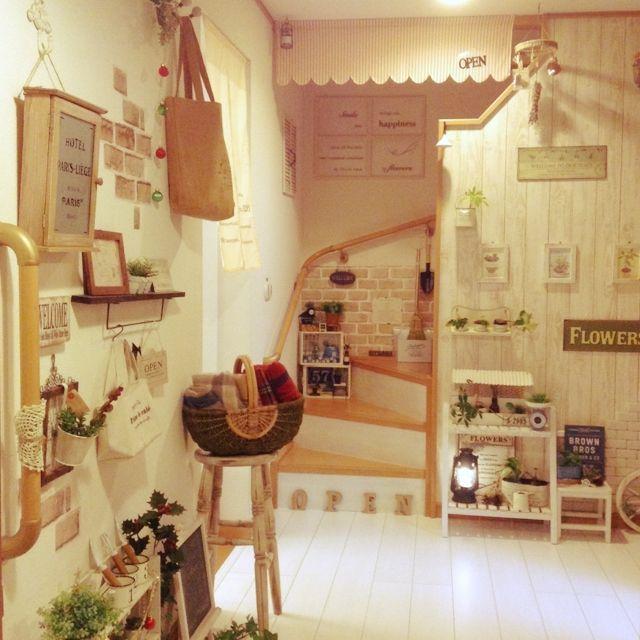 kohakuruさんの、壁紙屋本舗,レンガシート,すのこ棚,かご,植物,雑貨,フェイクグリーン,100均,いつもいいね!ありがとうございます♪,セリア,DIY,夜,salut!,ランタン,オーニング,Entrance,のお部屋写真