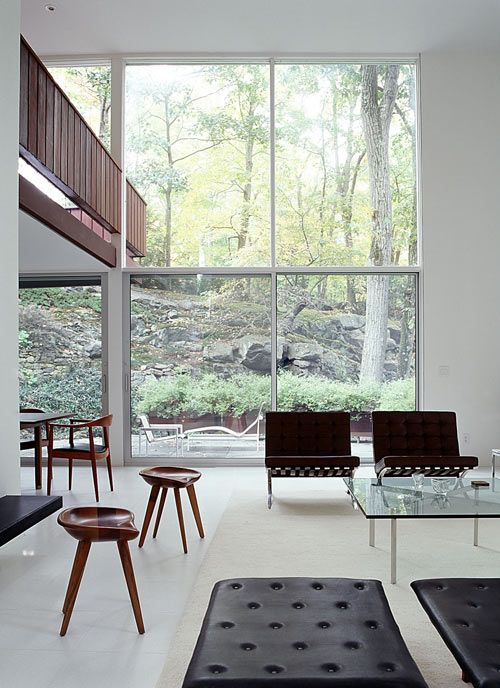 Located near Philip Johnson's famed Glass House in New Canaan, CT, BassamFellows extensively renovated this mid-century modern house, originally designed by architect Willis Mills.