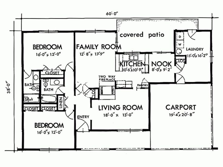 images about house plans on Pinterest   Two Bedroom House    Simple Two Bedrooms House Plans for Small Home   Exciting House Interior Spaces Two Bedroom House