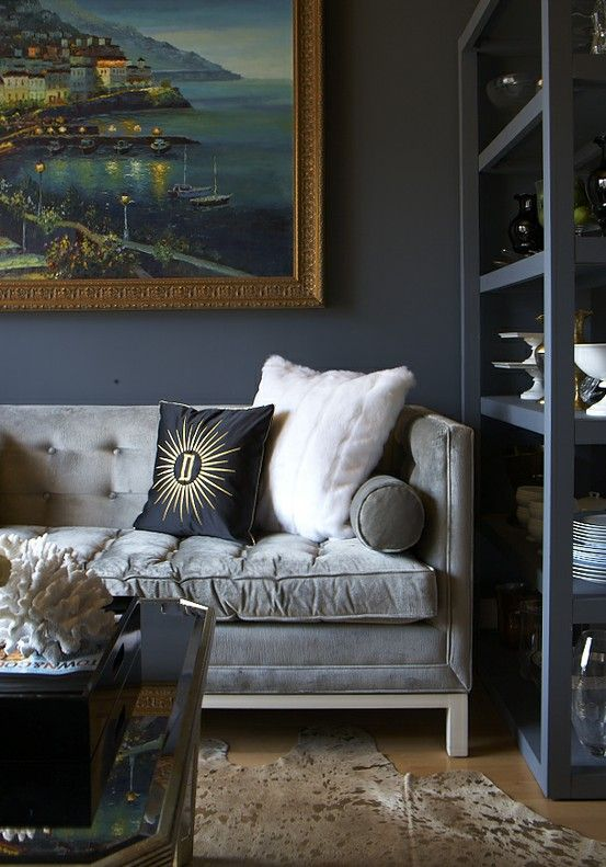 silver velvet and deep grayish navy bookshelves. stunning night painting. @Sheila Baker