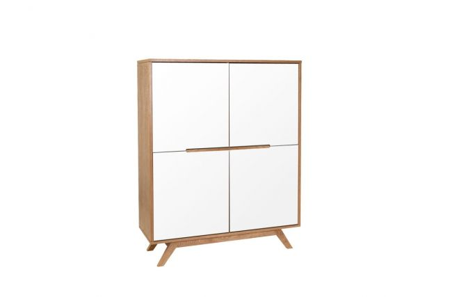 Aparador madera natural y blanca 4 puertas HELIA - Zoom