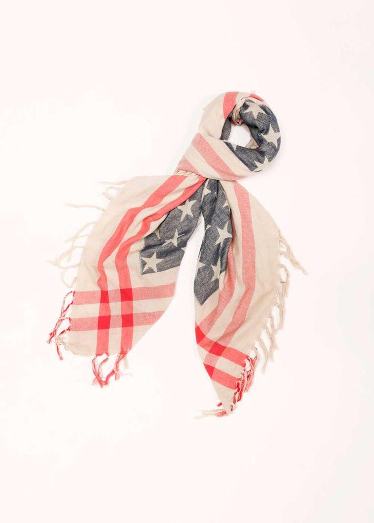 Look by M American Flag Scarf in Tan MSF1649-TAN