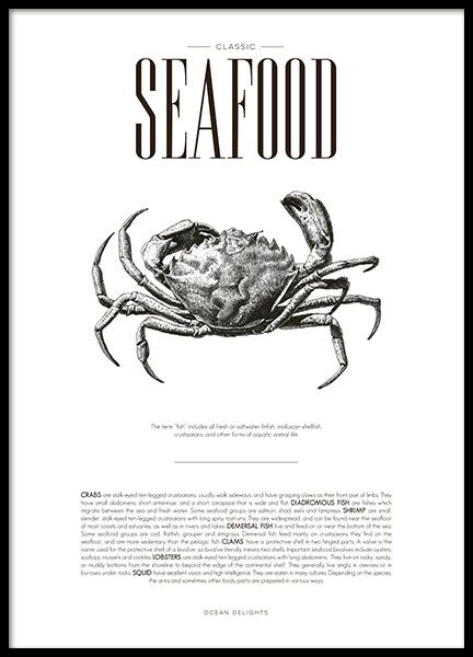 Stylish kitchen art with Seafood, illustration and text about the delicacies of the sea in a tasteful design. www.desenio.com