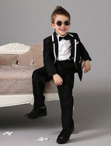 Classic Black Jacket White Trim Polyester Kid's Ring Bearer Suit