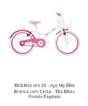 Bicicleta infantil de menina rosa com branco e cestinha em promoção – Modelo aro 20 My Bike com pneus banda branca http://hcompras.com/bicicleta-roda-branca-menina-com-cestinha/