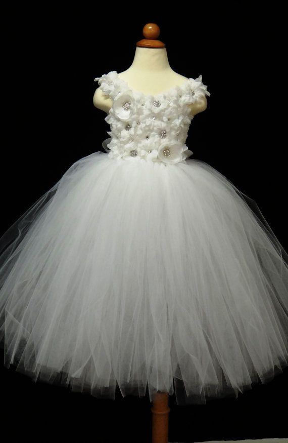Flower Girl Dress.... White Flower Girl Tutu by LureCouture, $75.00