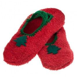 Knitted slippers with felt detail. 2 assorted designs.