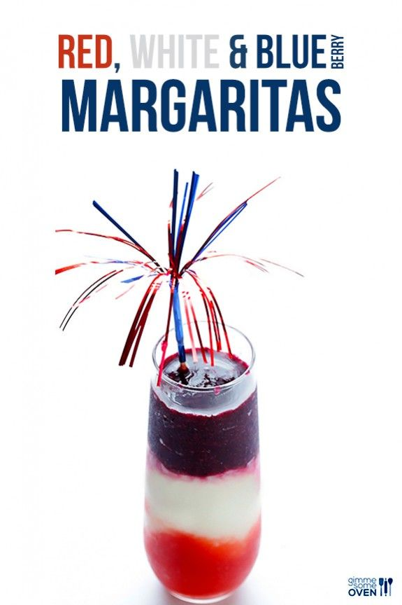 Red, White and Blue(berry) Margaritas -- easy to make, and perfect for celebrating!   gimmesomeoven.com #drinks #recipe