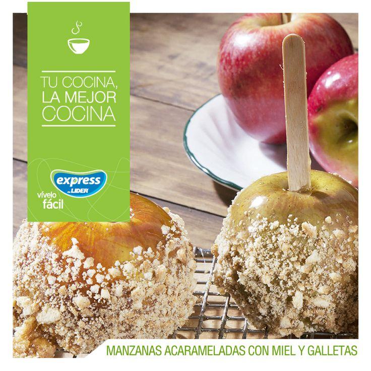 Manzanas acarameladas con miel y crocante de galletas  #Receta #Recetario #RecetarioExpress #ExpressdeLider #Manzanas #Miel #Galletas
